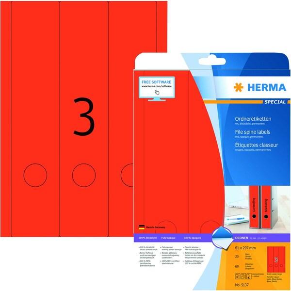 Herma Rückenschild Nr. 5137 rot PA 60Stk breit/lang bedruchbar