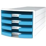 Han Schubladenbox Impuls Weiß/H.Blau Nr. 1013-54 A4/C4 4Fächer Offen