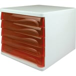 Helit Schubladenbox economy lichtgrau Nr. H6129420 5 rot-tranzluzente Fächer
