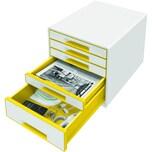 Leitz Schubladenbox WOW Cube A4 Nr. 5214-20-16. 5 Fächer. weiß/orange
