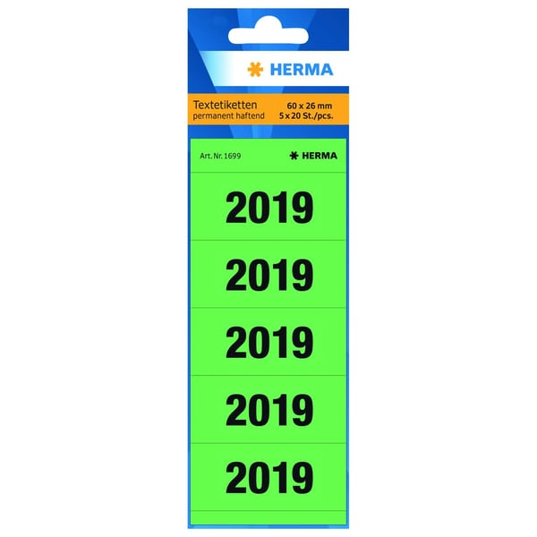 Herma Jahresschild 2019 grün Nr. 1699 PA 100 Stück 6 x 26cm