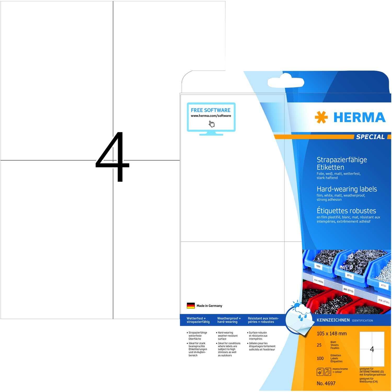 Herma Folien-Etikett Nr 4697 transparent PA 100 Stk 105x148mm