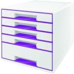 Leitz Schubladenbox Wow Cube A4 Nr. 5214-20-62 5 Fächer Weiß/Violett