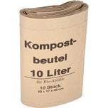 Müllsäcke Bio braun Papier 20+16 x 36cm Rolle 10 Stk