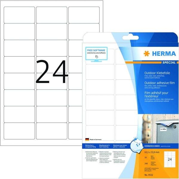 Herma Outdoor-Etiketten Nr. 9532 weiß PA 240Stk 635x339mm Folie bedruckbar