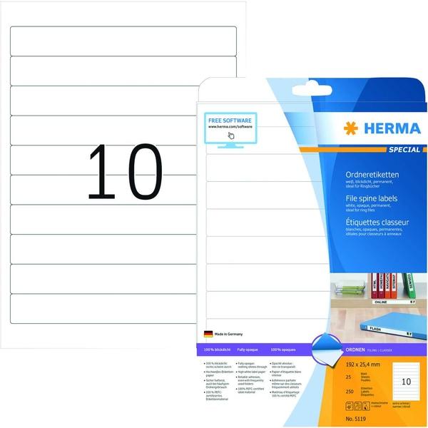 Herma Rückenschild Nr. 5119 weiß PA 250Stk schmal/kurz für Ringbücher