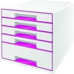 Leitz Schubladenbox WOW Cube A4 Nr. 5214-20-23 5 Fächer weiß/pink