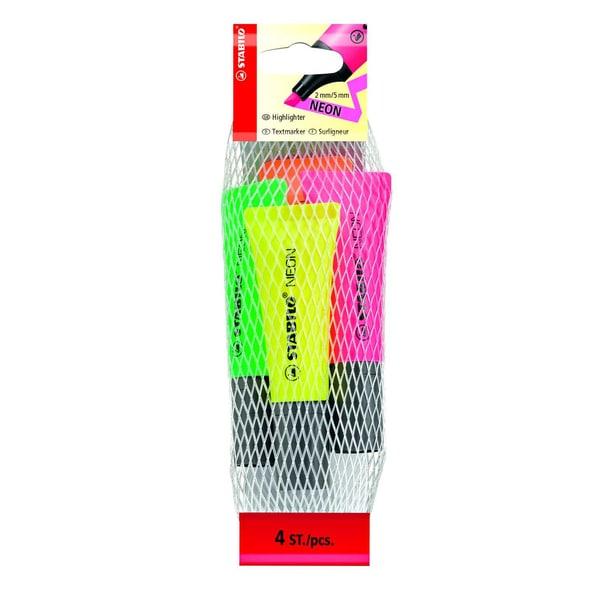 Stabilo Neon Textmarker Tubendesign Nr. 72/4-1 PA 4 Stück 2-5mmsortiert