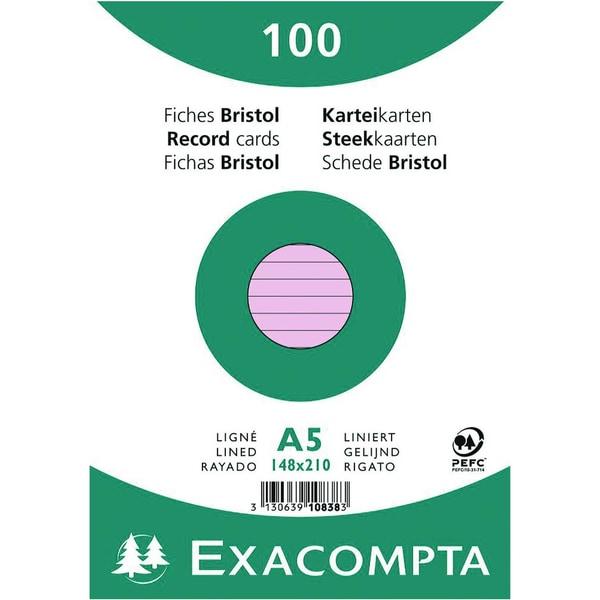 ExacomPTA Karteikarte A5 liniert rosa Nr. 10838SE PA 100 Stück