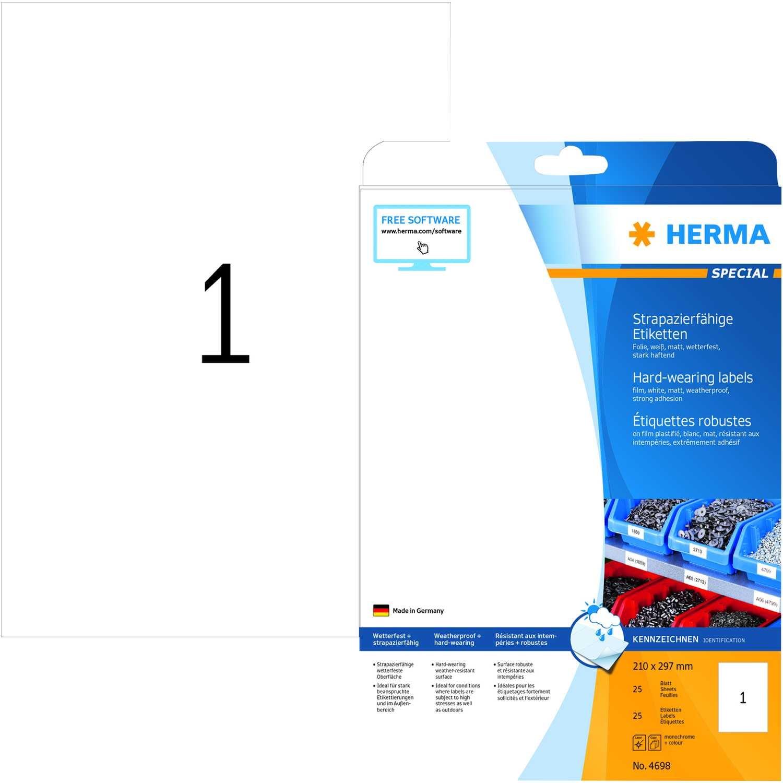 Herma Folien-Etikett Nr. 4698 weiß PA 25Stk 210 x 297mm bedruckbar