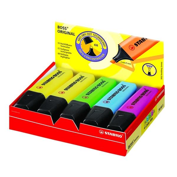 Stabilo Boss Textmarker sortiert Nr. 70/10-1 2-5mm PA 4 Stück