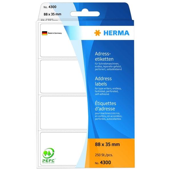 Herma Adress-Etiketten Nr. 4300 weiß PA 250Stk 88x35mm endlos leporello