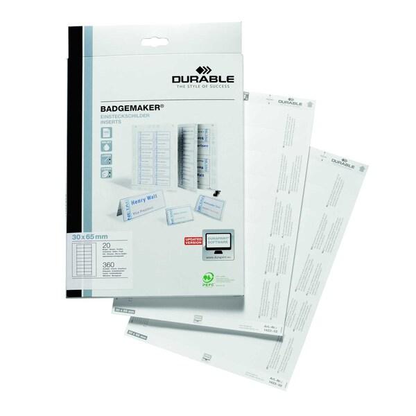 Durable Einsteckschild Badgemaker weiß Nr. 1423-02 30x65mm PA 360 Stück