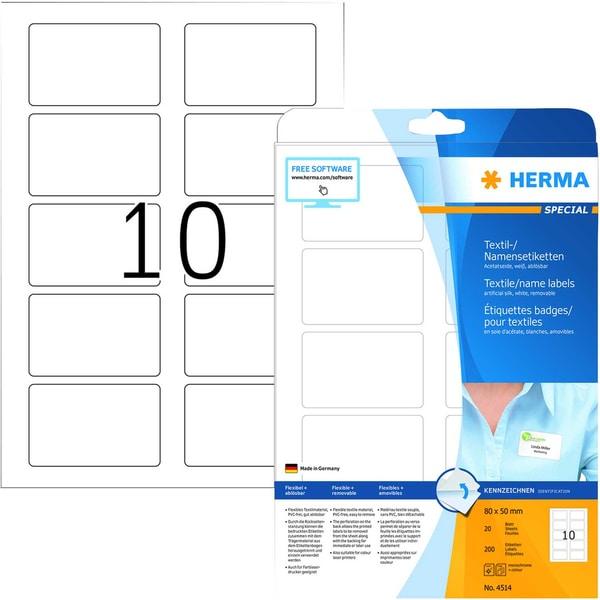 Herma Namensetikett Acetatseide Nr. 4414 PA 200 Stück 80x50mm weiß