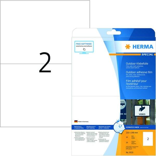 Herma Outdoor-Etikett Nr. 9535 weiß PA= 20St A5 210x148mm Folie bedruckbar