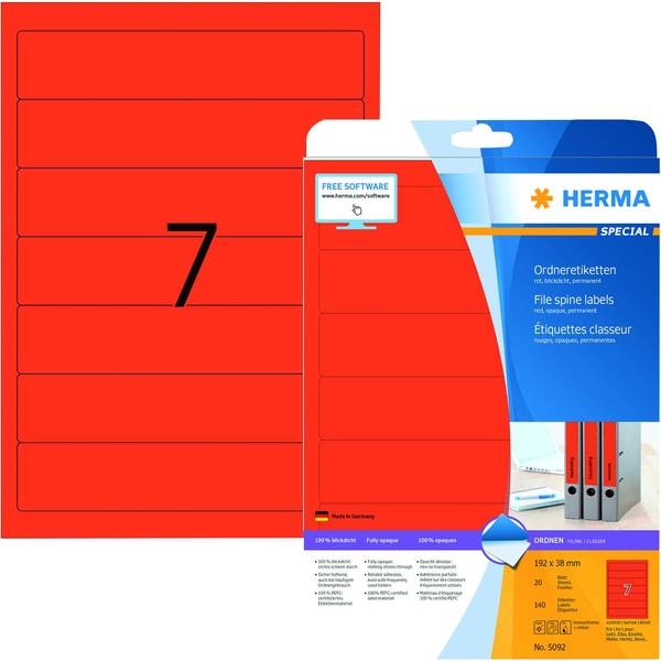 Herma Rückenschild Nr. 5092 rot PA 140Stk schmal/kurz sk bedruckbar