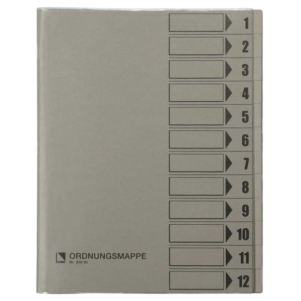 Bene Ordnungsmappen A4 12 Fächer grau Nr. 83800 GR 230g/m² PVC