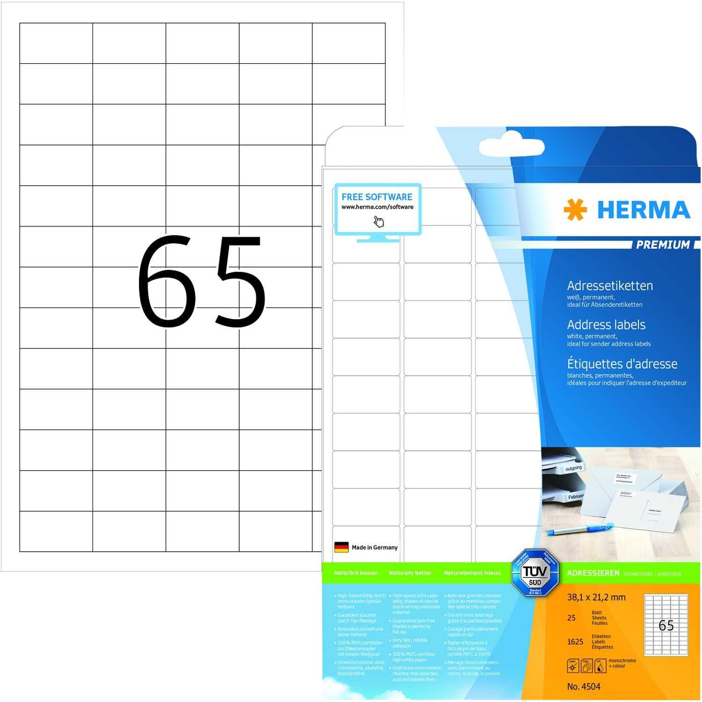 Herma Adress-Etiketten Nr. 4504 weiß PA 1.625Stk 381x212mm bedruckbar