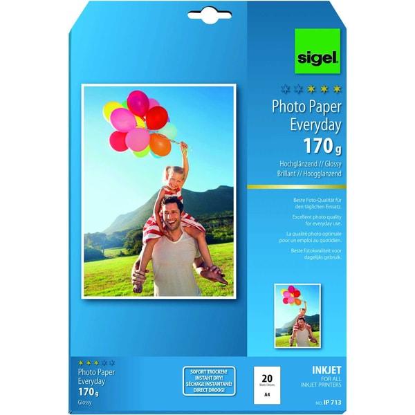 Sigel Inkjet Fotopapier Everyday A4 170g Nr. IP713 PA 20 Blatt hochglänzend