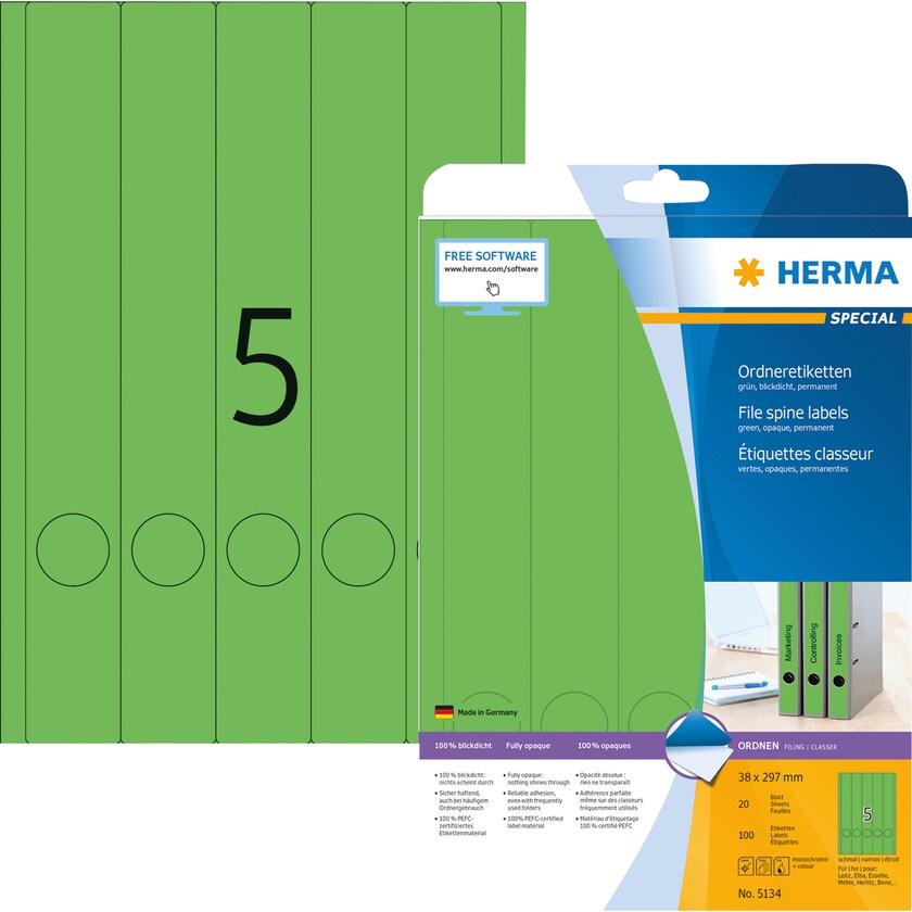 Herma Rückenschild Nr. 5134 grün PA 100Stk schmal/lang