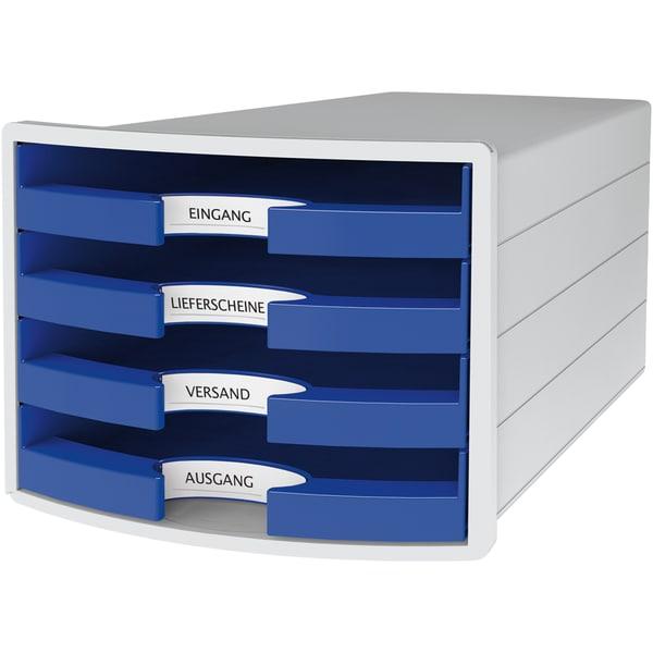 Han Schubladenbox Impuls Grau/Blau Nr. 1013-14 A4/C4 4Fächer Offen