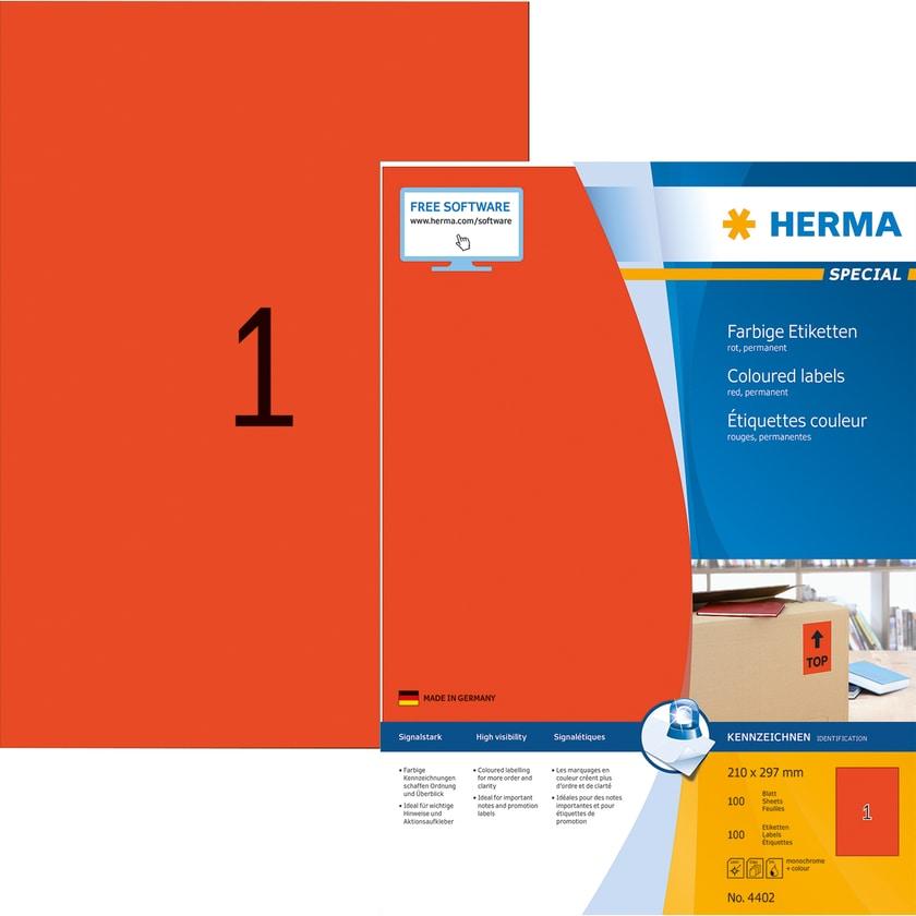 Herma Premium-Etikett Nr. 4402 rot PA= 100Stk. 210x297mm. Signalcharakter