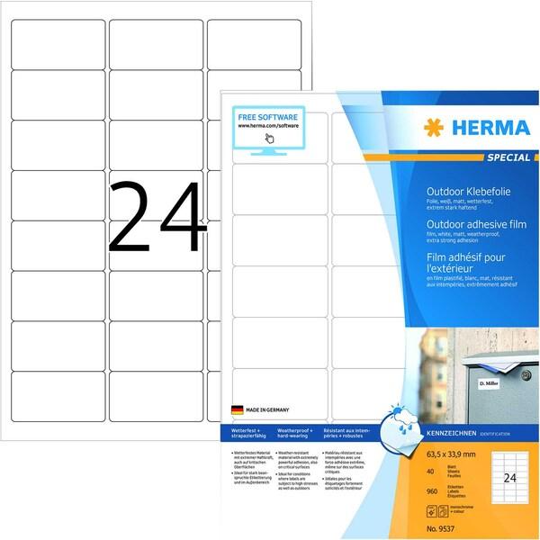 Herma Outdoor-Etiketten Nr. 9537 weiß PA 960St 635x339mm Folie bedruckbar