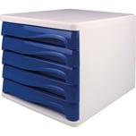 Helit Schubladenbox economy lichtgrau Nr. H6129484 5 blaue Fächer