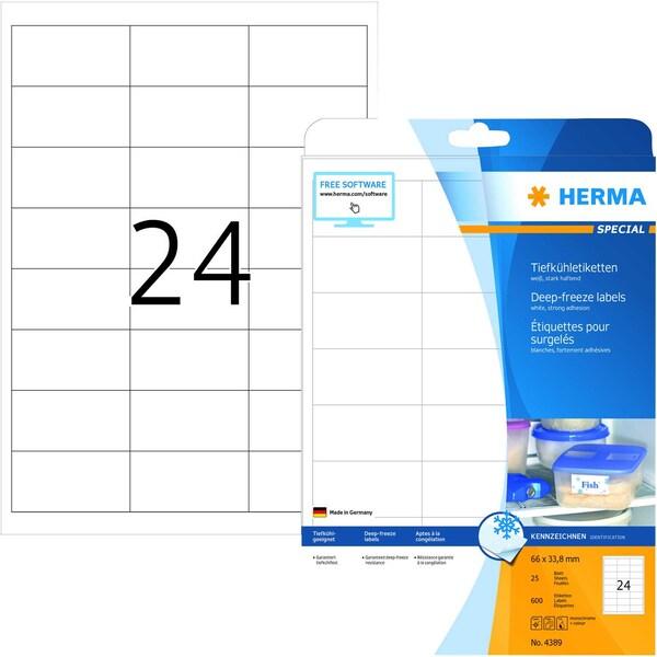 Herma Tiefkühletikett Nr. 4389 weiß PA 600 Stück 66x338mm