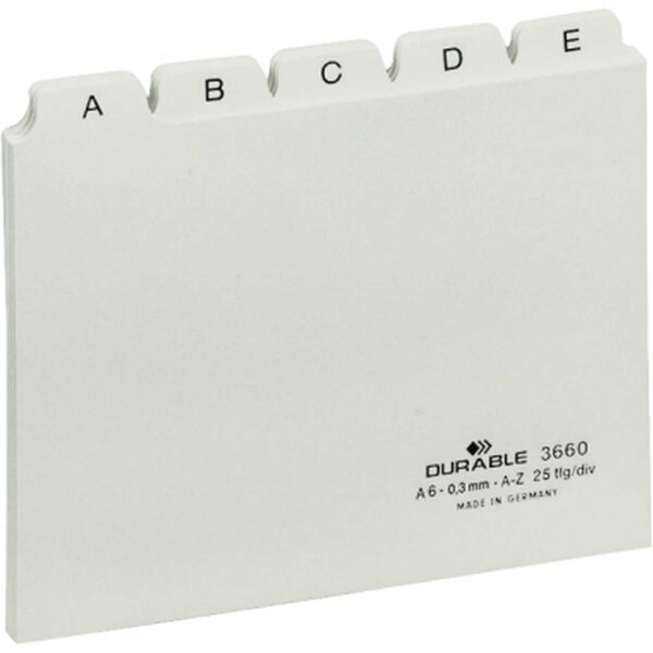 Durable Leitregister A6 quer A-Z PP weiß Nr. 3660-02 25-teilig