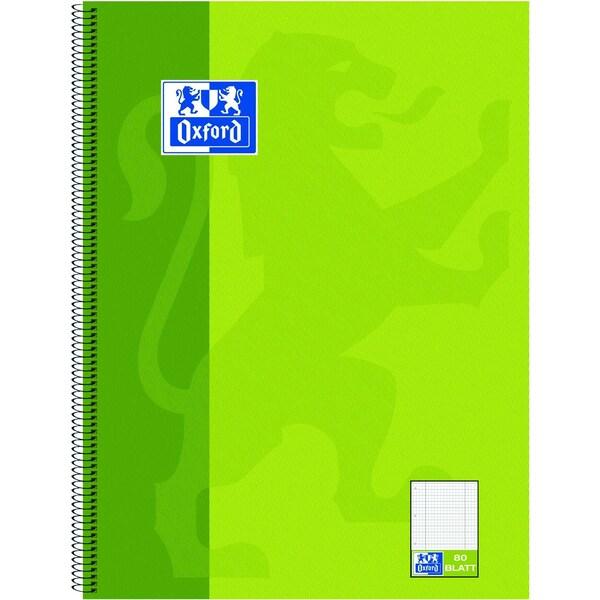 Oxford Collegeblock A4 kariert grün Nr. 100050362 80 Blatt 4fach Lochung