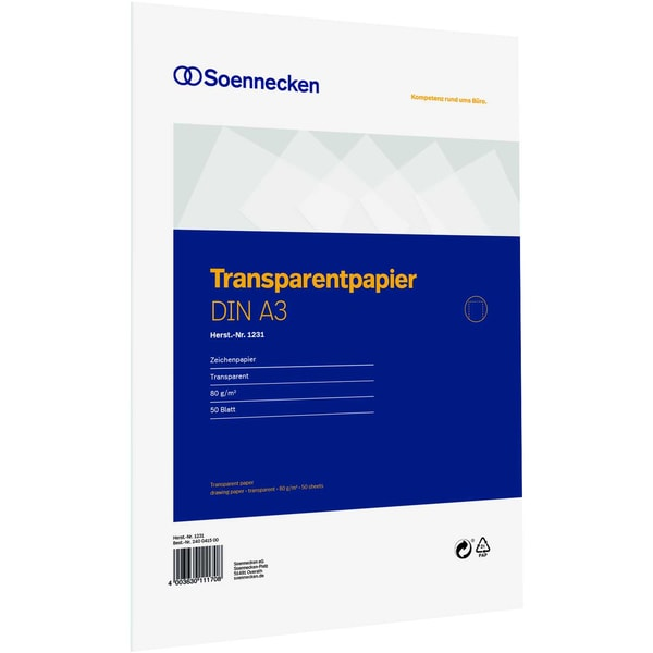 Soennecken Transparentpapier A3 75g 1231 Block 50Bl