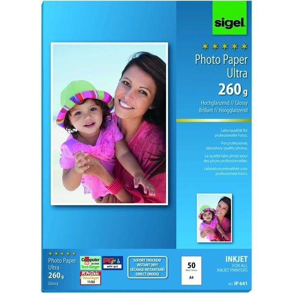 Sigel Inkjet Fotopapier Ultra A4 260g Nr. IP641 PA 50 Blatt hochweiß glossy
