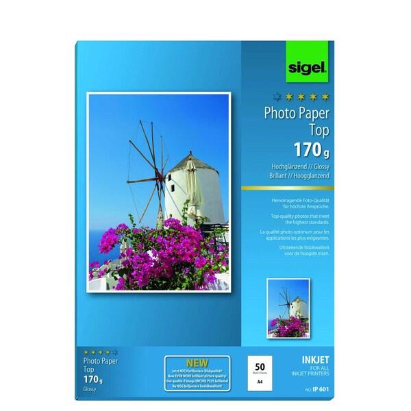 Sigel Inkjet Fotopapier A4 170g Nr. IP601 PA 50 Blatt hochweiß glossy