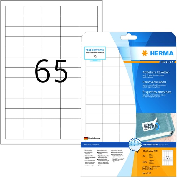 Herma Movables-Etikett Nr. 4212 weiß PA 1.625 Stk 381x212mm ablösbar