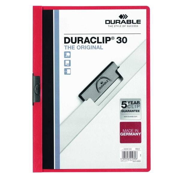 Durable Klemmmappe DURACLIP 30 A4 rot Nr. 2200-03 Füllhöhe 30Bl mit Deckblatt