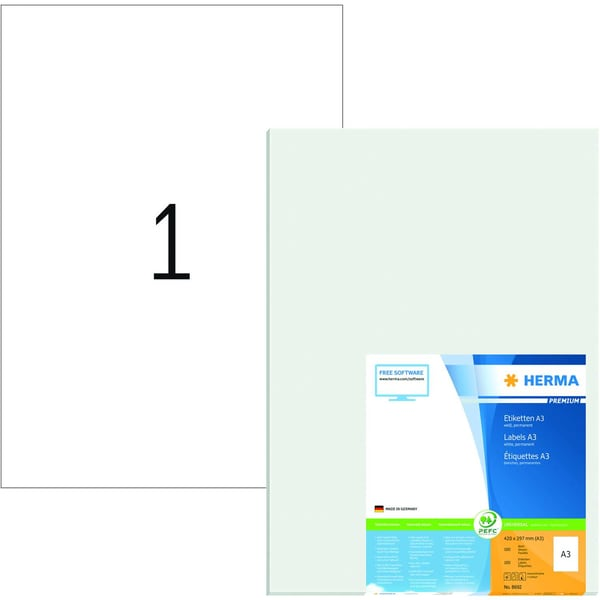 Herma Vielzwecketiketten Nr. 8692 weiß PA 100 Stück 420x297mm