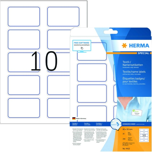 Herma Namensetikett Acetatseide Nr. 4410 PA= 200 Stück 80x50mm weiß/blau