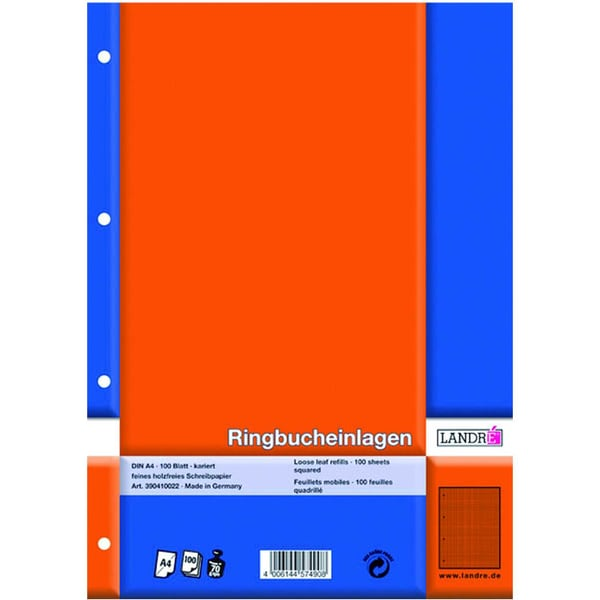 Landré Ringbucheinlage A5 kariert 70g 392510022 PA 100Bl. 6-fach gelocht