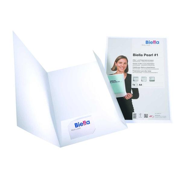 Biella Präsentationsmappe Pearl 1 A4 Nr. 0186.401.01 weiß Karton 2 Klappen