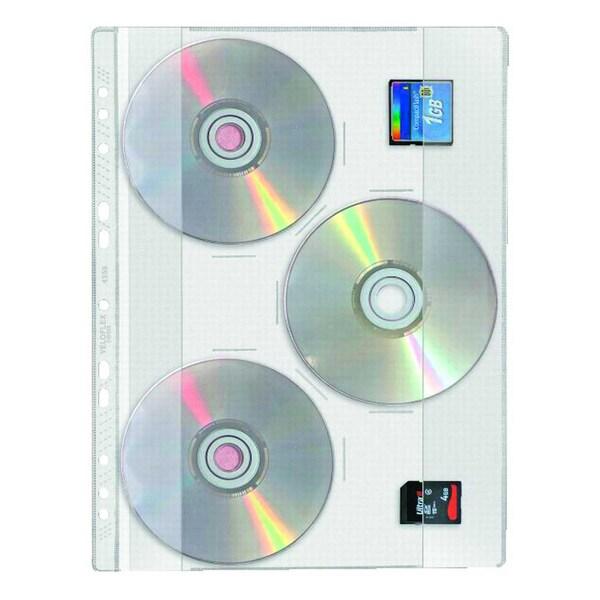 VELOFlex CD Hülle für 1 CD glasklar Nr. 4359000 PA 10 St abheftbar