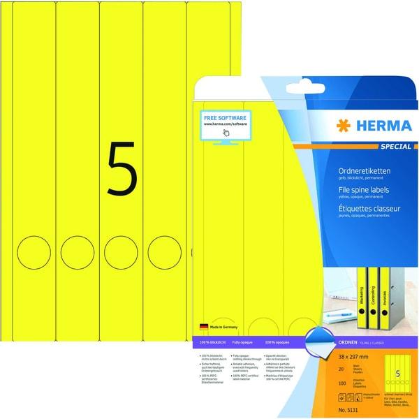 Herma Rückenschild Nr. 5131 gelb PA 100Stk schmal/lang