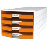 Han Schubladenbox Impuls Weiß/Orange Nr. 1013-51 A4/C4 4Fächer Offen