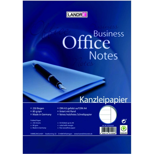 Landré Kanzleipapier A3/A4 liniert weiß Nr. 100050622 mit Rand PA 250 Blatt