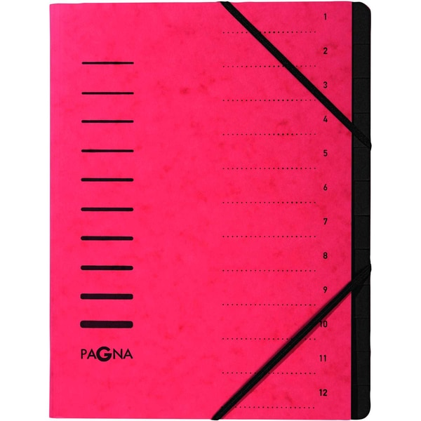 Pagna Ordnungsmappe A4 12 Fächer rot Nr. 40059-01 Karton 1-12 280g/m²