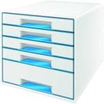Leitz Schubladenbox Wow Cube A4 Nr. 5214-20-36 5 Fächer Weiß/Blau