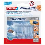 tesa Powerstrips Haken XL transparent lösungsmittelfrei Nr. 58813. PA= 2Stk.. 27x45mm. 1kg