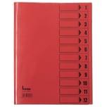 Bene Ordnungsmappen A4 12 Fächer inten- sivrot Nr. 84800 RT 230g/m² PVC