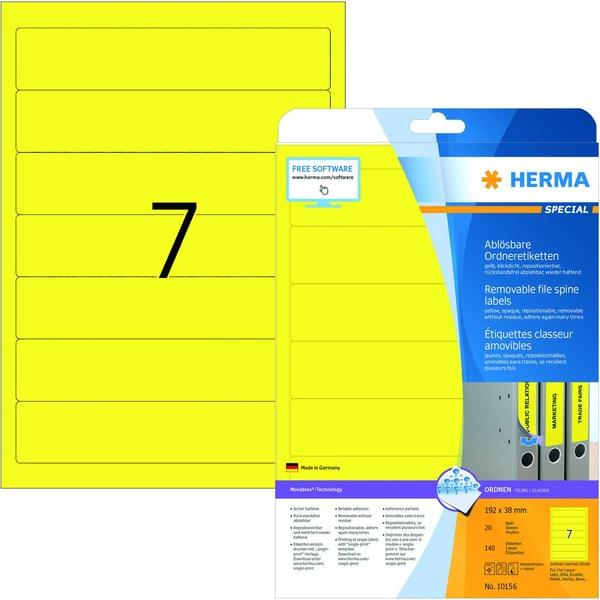 Herma Rückenschild Nr. 10156 gelb PA 140St schmal/kurz sk free to move