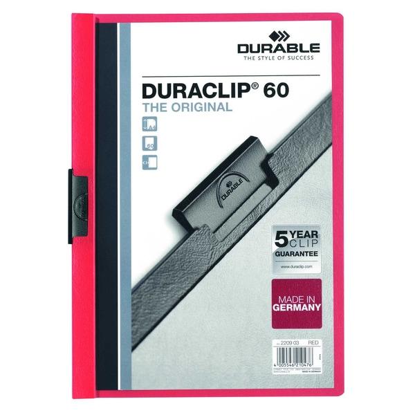 Durable Klemmmappe DURACLIP A4 rot Nr. 2209-03 Füllhöhe 60Bl mit Deckblatt